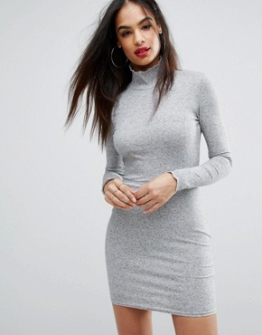 photo Ribbed Bodycon Dress by PrettyLittleThing, color Grey - Image 1