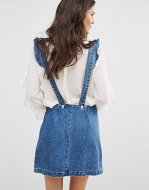 photo Denim Dungaree Dress With Stars Embroidery by Mango, color Blue - Image 2