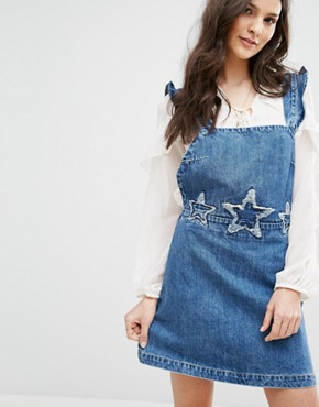 photo Denim Dungaree Dress With Stars Embroidery by Mango, color Blue - Image 1