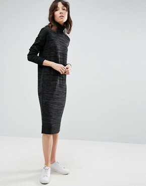 photo Knitted Dress With High Neck by ASOS, color Charcoal - Image 1