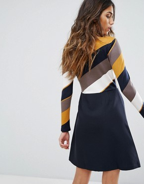 photo Skater Dress by Traffic People, color Navy/Yellow - Image 2