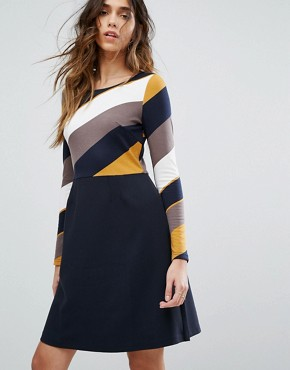 photo Skater Dress by Traffic People, color Navy/Yellow - Image 1