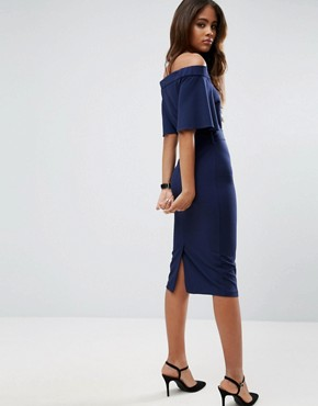photo Midi Dress With Off Shoulder And Self Tie by ASOS TALL, color Navy - Image 2