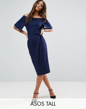 photo Midi Dress With Off Shoulder And Self Tie by ASOS TALL, color Navy - Image 1