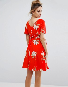 photo Floral Tea Dress with Tie Back by Queen Bee, color Red - Image 2