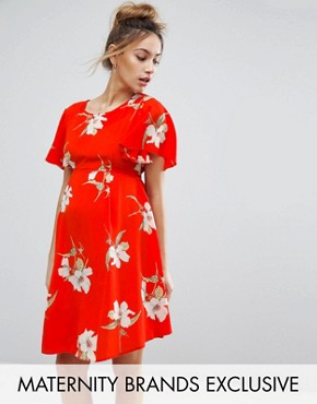 photo Floral Tea Dress with Tie Back by Queen Bee, color Red - Image 1