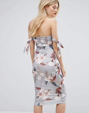 photo Floral Print Tie Detail Midi Dress by Missguided, color  - Image 2