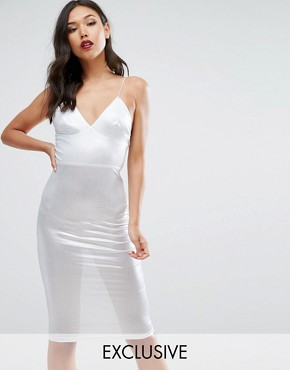 photo Metallic Midi Dress by Club L, color Silver - Image 1