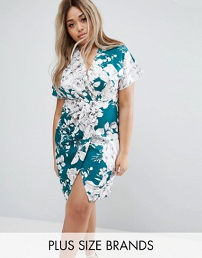 photo Pencil Dress with Wrap Front In Artistic Floral Print by Closet London Plus, color Teal - Image 1