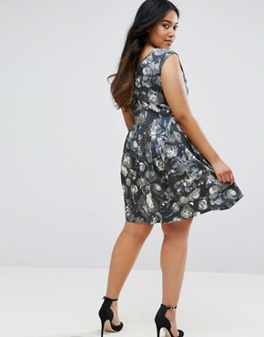 photo Skater Dress In Artistic Floral Print by Closet London Plus, color  - Image 2