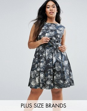 photo Skater Dress In Artistic Floral Print by Closet London Plus, color  - Image 1