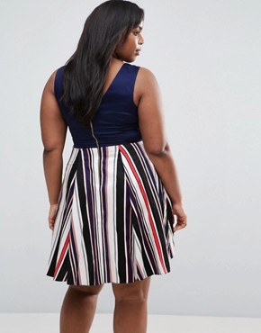 photo Skater Dress with Stripe Skirt by Closet London Plus, color Navy - Image 2