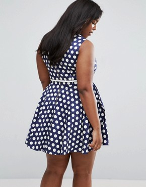 photo Skater Dress In Polka Dot Print by Closet London Plus, color Navy - Image 2