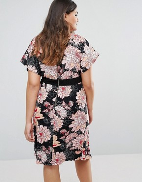 photo Wrap Dress with Kimono Sleeves In Floral Print by Closet London Plus, color  - Image 2