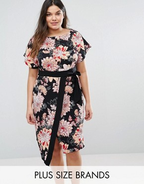 photo Wrap Dress with Kimono Sleeves In Floral Print by Closet London Plus, color  - Image 1