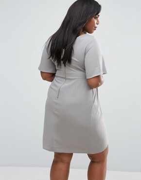 photo Wrap Dress with Bow Detail by Closet London Plus, color Grey - Image 2