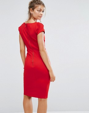 photo Pencil Dress with Ruched Cap Sleeve by Closet London, color Red - Image 2