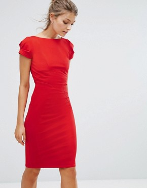 photo Pencil Dress with Ruched Cap Sleeve by Closet London, color Red - Image 1