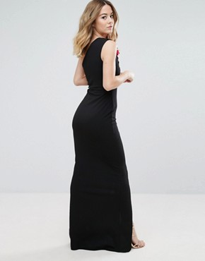 photo One Shoulder Maxi Dress with Side Split and Floral Applique by Jessica Wright, color Black - Image 2