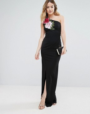 photo One Shoulder Maxi Dress with Side Split and Floral Applique by Jessica Wright, color Black - Image 1