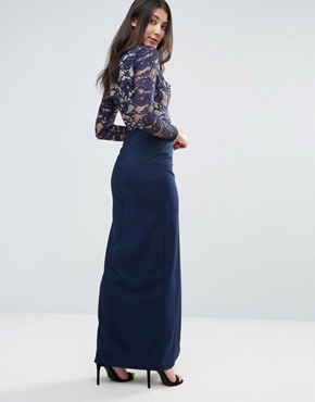 photo Lace Sleeve Maxi Dress with Side Split by Jessica Wright, color Blue - Image 2