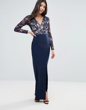 photo Lace Sleeve Maxi Dress with Side Split by Jessica Wright, color Blue - Image 1