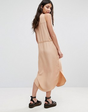 photo Draw String Shirt Dress by Neon Rose, color Tan - Image 2