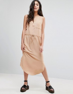 photo Draw String Shirt Dress by Neon Rose, color Tan - Image 1