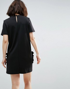 photo T-Shirt Dress With Frill Pockets by ASOS, color Black - Image 2