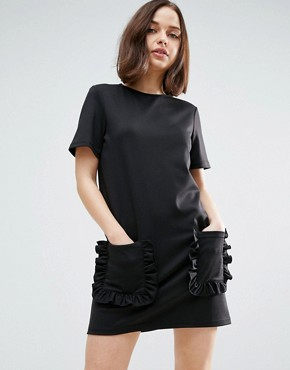 photo T-Shirt Dress With Frill Pockets by ASOS, color Black - Image 1