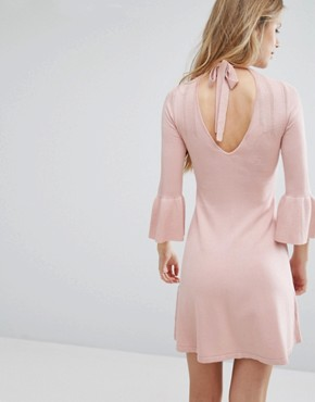 photo Pointelle Fluted Sleeve Dress by Miss Selfridge, color Pink - Image 2