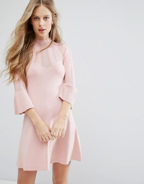 photo Pointelle Fluted Sleeve Dress by Miss Selfridge, color Pink - Image 1
