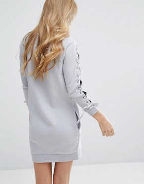 photo Tie Sleeve Sweater Dress by Miss Selfridge, color Grey - Image 2