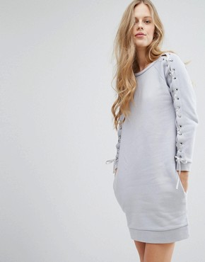 photo Tie Sleeve Sweater Dress by Miss Selfridge, color Grey - Image 1