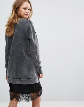photo Lace Hem Logo Print Jumper Dress by Pull&Bear, color Grey - Image 2