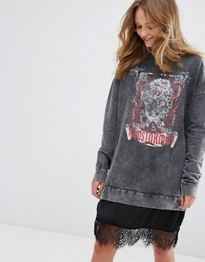 photo Lace Hem Logo Print Jumper Dress by Pull&Bear, color Grey - Image 1