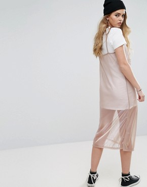 photo 2 In 1 Cami Metallic Slip Dress by Pull&Bear, color Rose Gold - Image 2