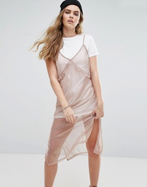 photo 2 In 1 Cami Metallic Slip Dress by Pull&Bear, color Rose Gold - Image 1