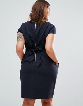 photo Cap Sleeve Midi Pencil Dress with Tie Back by Closet London Plus, color Navy - Image 2