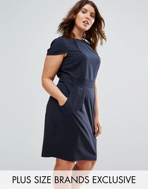 photo Cap Sleeve Midi Pencil Dress with Tie Back by Closet London Plus, color Navy - Image 1