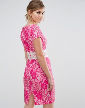 photo Contrast Pencil Dress In Crochet Lace by Paper Dolls, color Pink - Image 2