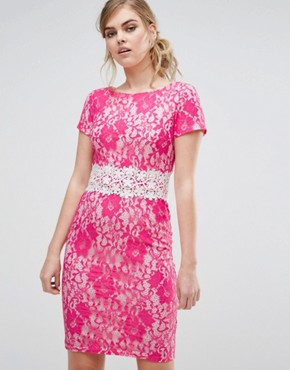 photo Contrast Pencil Dress In Crochet Lace by Paper Dolls, color Pink - Image 1