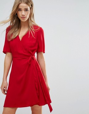 photo Crepe Wrap Dress by New Look, color Red - Image 1