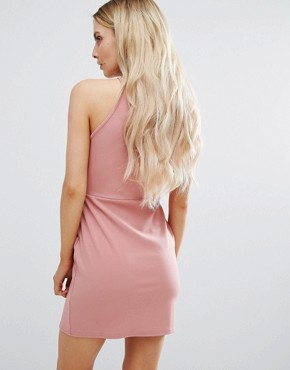 photo Side Split Mini Dress by Missguided Petite, color Rose - Image 2