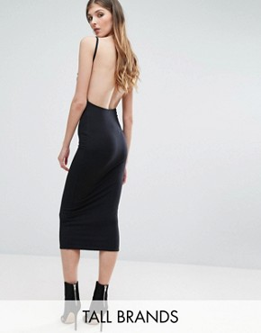 photo Ribbed Open Back Bodycon Midi Dress by Missguided Tall, color Black - Image 1