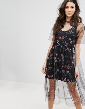 photo Floral Embroidered Mesh Dress by Mango, color Black - Image 1