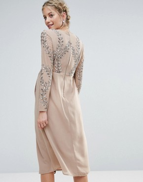 photo Embellished Wrap Midi Dress by Maya Maternity, color Mink - Image 2