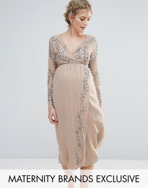 photo Embellished Wrap Midi Dress by Maya Maternity, color Mink - Image 1