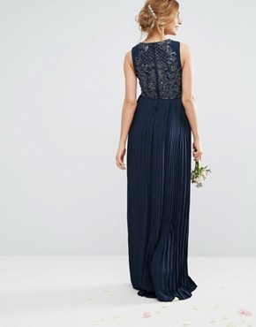 photo Embellished Bodice Maxi Dress with Pleated Skirt by Maya Maternity, color Navy - Image 2