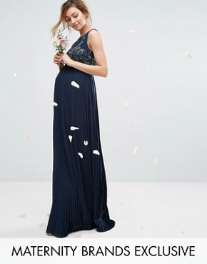 photo Embellished Bodice Maxi Dress with Pleated Skirt by Maya Maternity, color Navy - Image 1